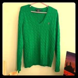Ralph Lauren Sport Green V-Neck Sweater